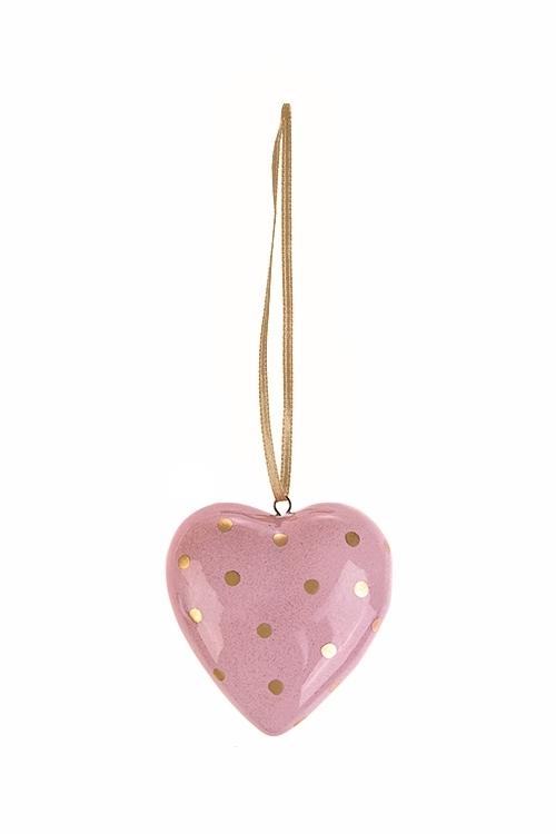 Украшение декоративное СердцеСувениры и упаковка<br>Выс=5см, керам., персик.-золот., подвесное (2 вида)<br>