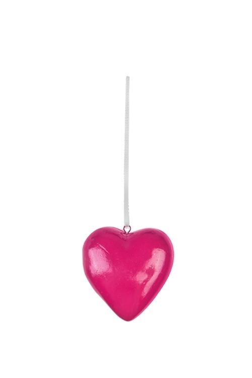 Украшение декоративное СердцеСувениры и упаковка<br>Выс=5см, керам., малин., подвесное<br>