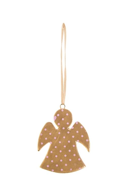 Украшение декоративное Ангелочек в горошекЕлочные игрушки<br>Выс=6.5см, керам., персик.-золот., подвесное (2 вида)<br>