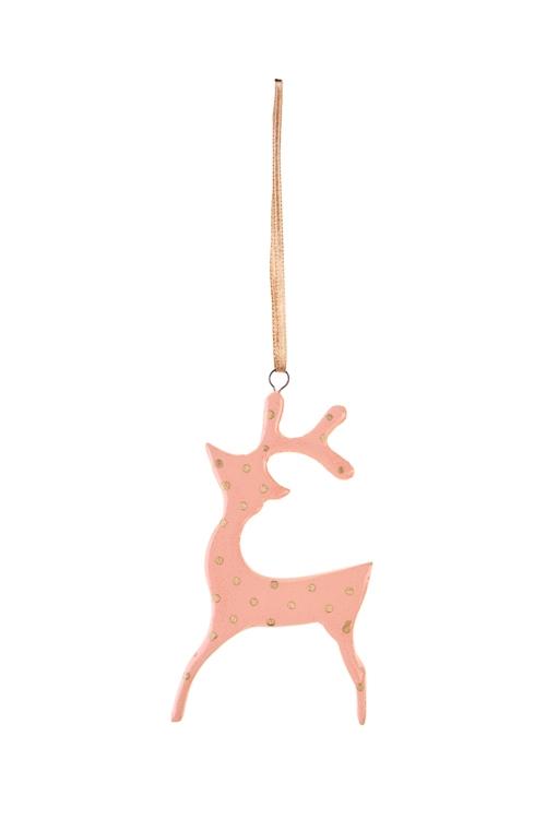 Украшение декоративное Олененок в горошекЕлочные игрушки<br>9.5*5см, керам., персик.-золот., подвесное (2 вида)<br>