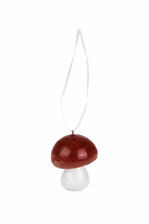 Украшение декоративное ГрибДекоративные гирлянды и подвески<br>Выс=4.5см, керам., бело-красное, подвесное<br>
