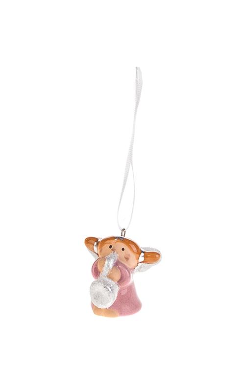 Украшение декоративное Ангел-музыкантСувениры и упаковка<br>Выс=4см, керам., розово-серебр. (4 вида)<br>