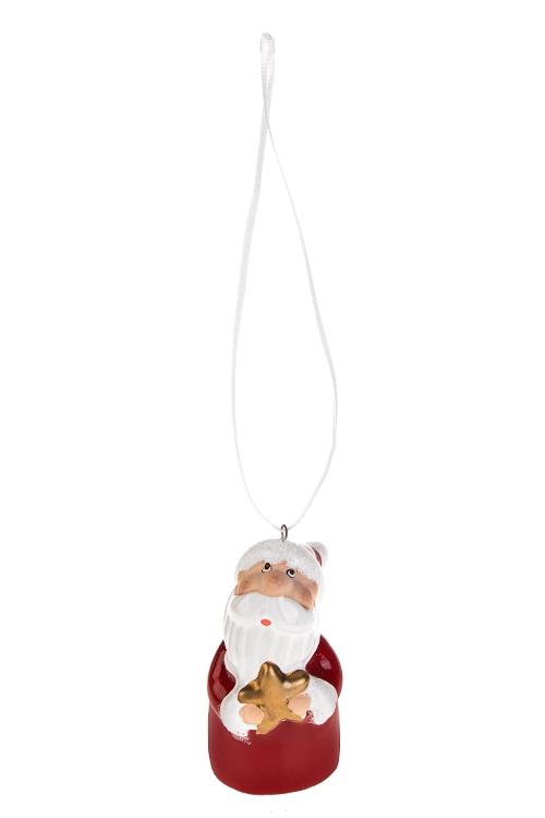 Украшение новогоднее Дед Мороз с подаркомСувениры и упаковка<br>Выс=6см, керам., красно-белое, подвесное (3 вида)<br>