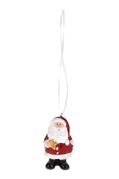 Украшение новогоднее Дед МорозСувениры и упаковка<br>Выс=7см, керам., красно-белое, подвесное (3 вида)<br>
