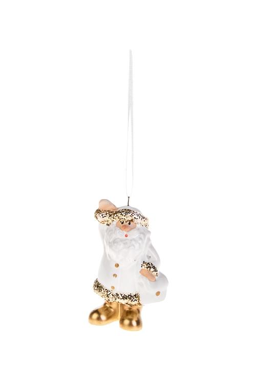 Украшение новогоднее Дед МорозСувениры и упаковка<br>Выс=7см, керам., бело-золот., подвесное (3 вида)<br>