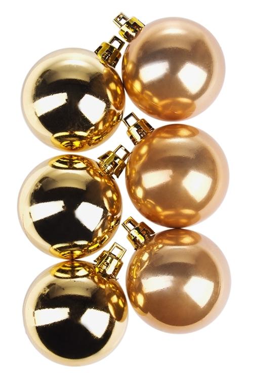 Набор шаров елочныхСувениры и упаковка<br>6-предм., Д=5см, пласт., золот., крем.<br>