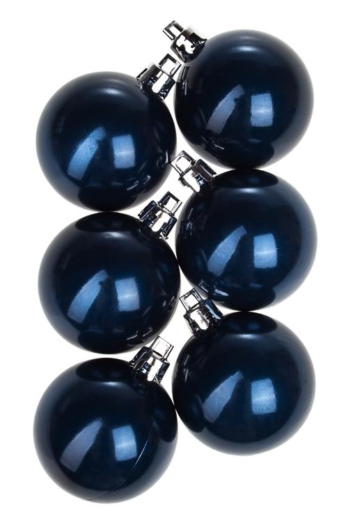 Набор шаров елочных Шары елочныеДекоративные гирлянды и подвески<br>6-предм., Д=5см, пласт., темно-синий<br>