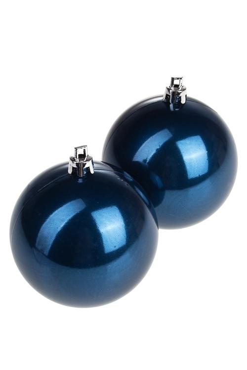 Набор шаров елочных Набор шаров елочных, 2-предм., Д=7.5см, пласт., темно-синийЕлочные шары<br>2-предм., Д=7.5см, пласт., темно-синий<br>