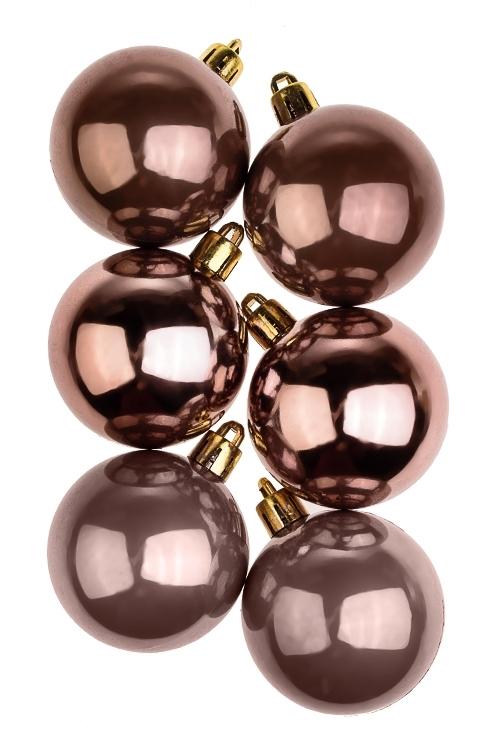 Набор шаров елочных КлассикаПодарки на Новый год 2018<br>6-предм., Д=5см, пласт., шоколадный<br>