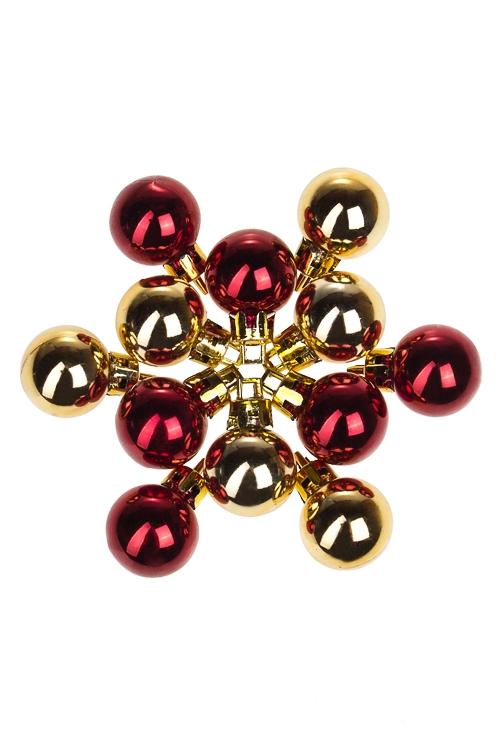 Набор шаров елочных МиниЕлочные шары<br>12-предм., Д=2.5см, пласт., борд.-золот.<br>