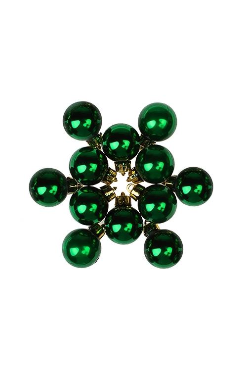 Набор шаров елочных МиниПодарки на Новый год 2018<br>12-предм., Д=2.5см, пласт., темно-зеленый<br>
