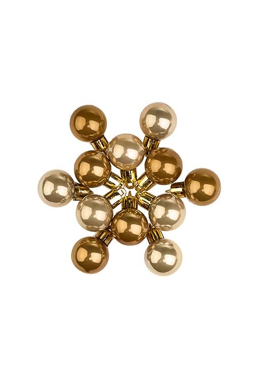 Набор шаров елочных МиниПодарки на Новый год 2018<br>12-предм., Д=2.5см, пласт., охра<br>