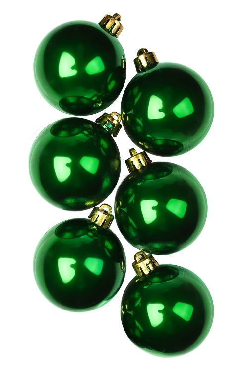 Набор шаров елочных КлассикаПодарки на Новый год 2018<br>6-предм., Д=5см, пласт., темно-зеленый<br>