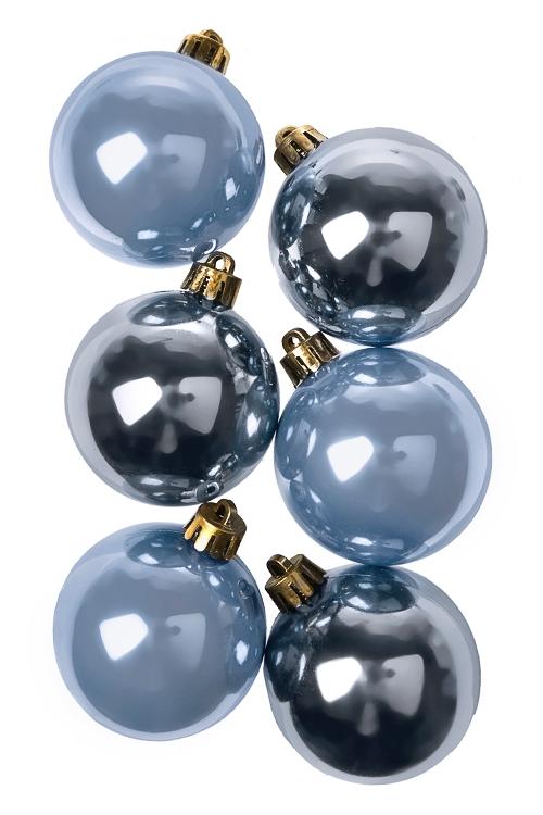 Набор шаров елочных КлассикаПодарки на Новый год 2018<br>6-предм., Д=5см, пласт., голубой<br>