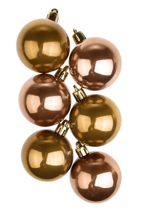 Набор шаров елочных КлассикаПодарки на Новый год 2018<br>6-предм., Д=5см, пласт., охра<br>