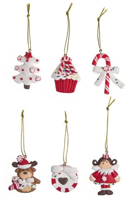 Набор украшений новогодних СладостиПодарки<br>6 предм., выс=6см, керам., подвесной<br>