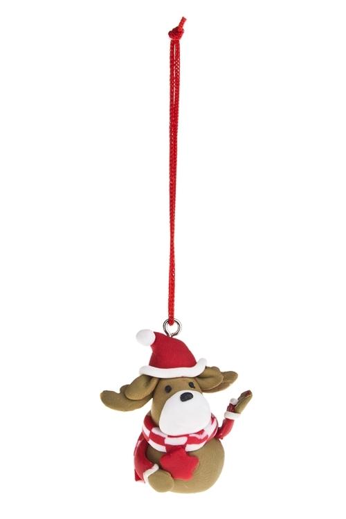 Украшение новогоднее Олененок с шарфикомПодарки<br>Выс=3см, керам., подвесное (2 вида)<br>