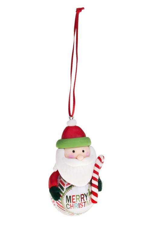 Украшение новогоднее Персонаж на шареЕлочные игрушки<br>Выс=9см, керам., бумага, пенопласт, подвесное (4 вида)<br>