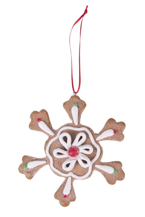 Украшение новогоднее Пряничная снежинкаЕлочные игрушки<br>Д=10см, керам., подвесное (3 вида)<br>