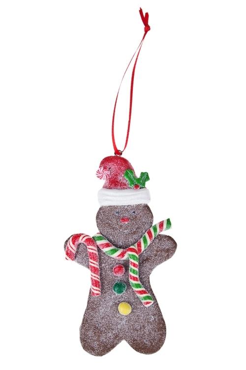 Украшение новогоднее Пряничный человечекЕлочные игрушки<br>Выс=10см, керам., подвесное (3 вида)<br>