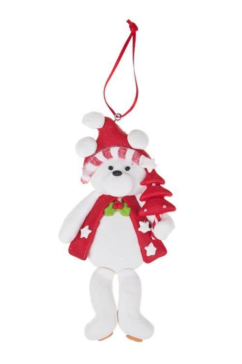Украшение новогоднее Белый мишкаЕлочные игрушки<br>Выс=12см, керам., бело-красное, подвесное (2 вида)<br>