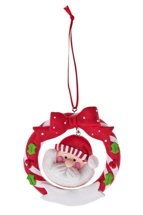 Украшение новогоднее Дед Мороз и венокПодарки<br>Д=10см, керам., подвесное<br>