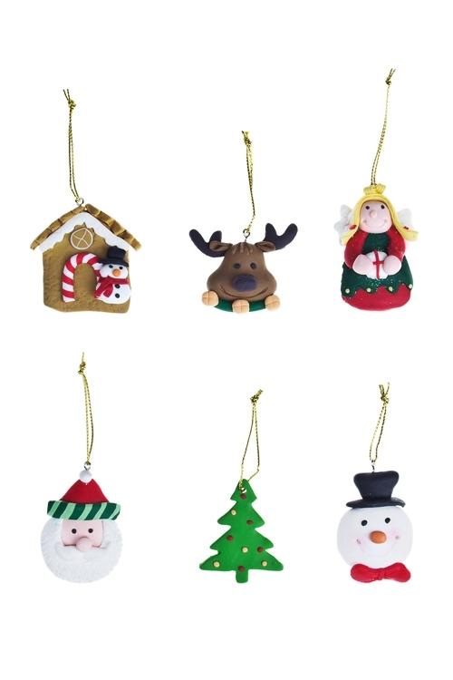 Набор украшений новогодних Символы праздникаПодарки<br>Выс=5см, керам., подвесной<br>