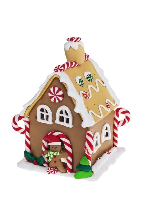 Украшение новогоднее светящееся Пряничный праздничный домикПодарки<br>12*10*15см, керам., на батар.<br>