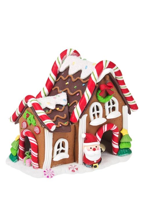 Украшение новогоднее светящееся Пряничный домик и Дед МорозПодарки<br>13*10*13см, керам., на батар.<br>