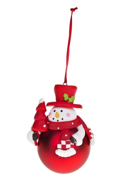 Украшение новогоднее Новогодний персонаж на шареПодарки<br>Выс=10м, керам., пластм. (3 вида)<br>