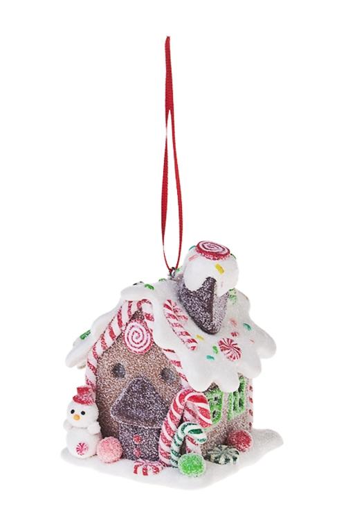 Украшение для интерьера светящееся Сладкий домик снеговикаПодарки<br>6*6*9см, керам., подвесное<br>