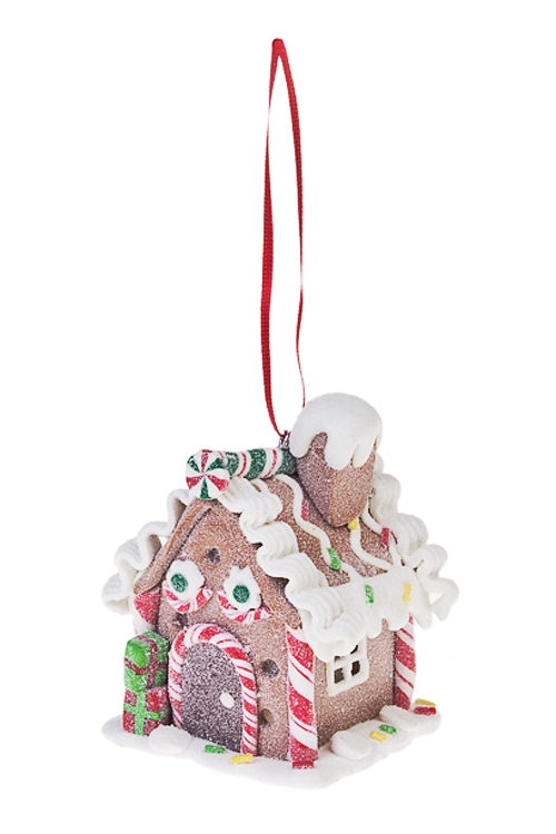 Украшение для интерьера светящееся Имбирный домик с карамельюРождественские украшения<br>6*6*9см, керам., подвесное<br>