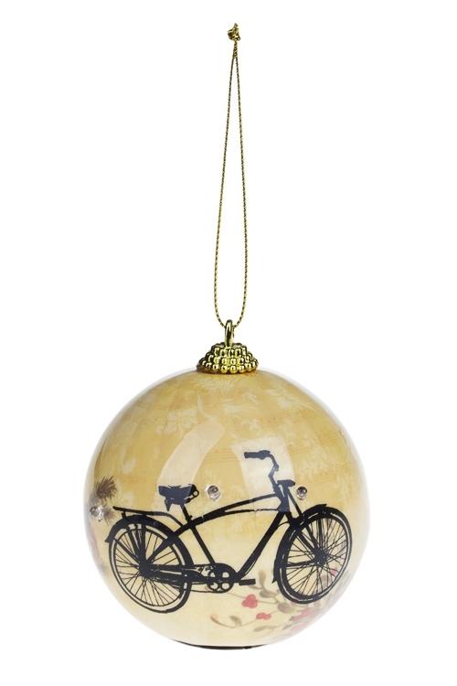 Украшение елочное светящееся ВелосипедПодарки<br>Д=8см, пенопласт, бум., желто-черное, на батар.<br>