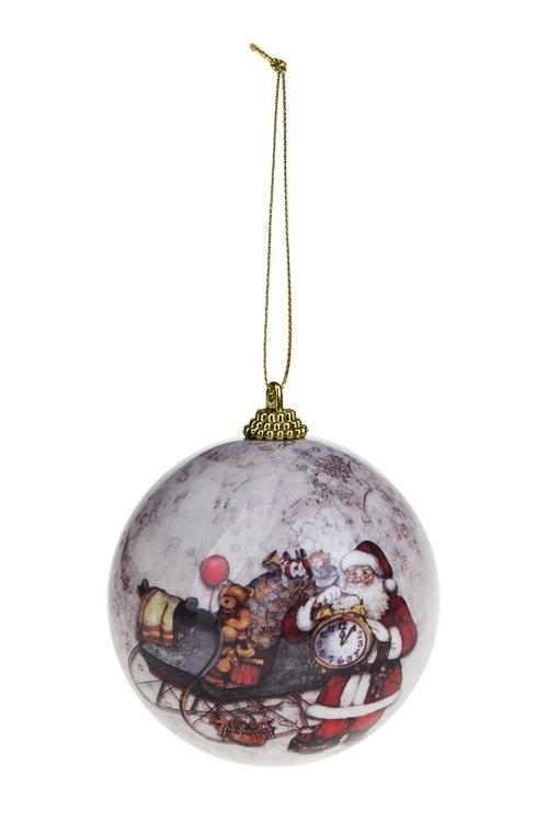 Шар елочный Дед Мороз на саняхПодарки<br>Д=8см, пенопласт, бум.<br>