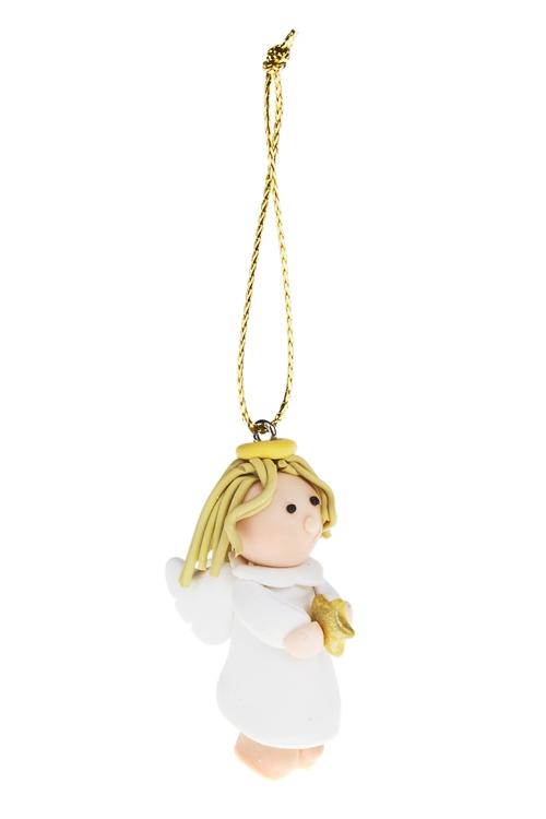 Украшение декоративное Прекрасный ангелЕлочные игрушки<br>Выс=4см, керам., подвесное (2 вида)<br>