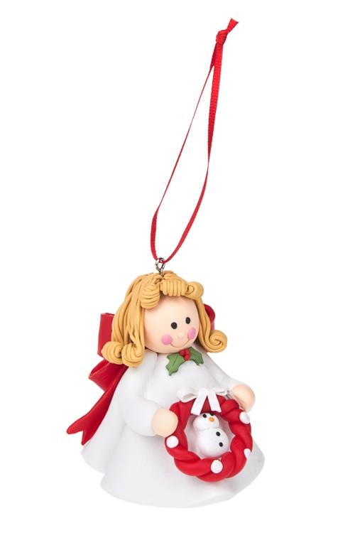 Украшение декоративное Девочка-ангелочекЕлочные игрушки<br>Выс=8см, керам., подвесное (3 вида)<br>