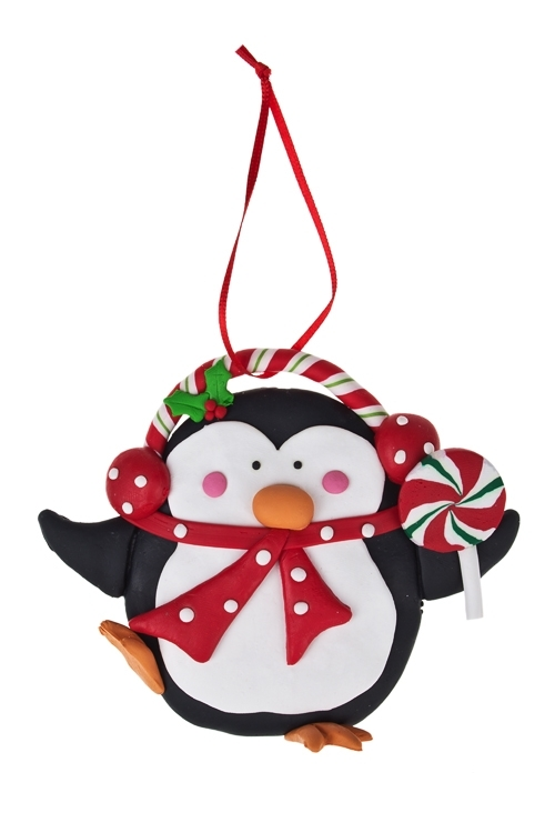 Украшение декоративное Пингвин с конфетойПодарки на Новый год 2018<br>Выс=11см, керам., подвесное<br>