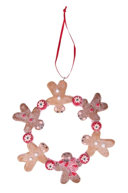Украшение декоративное Пряничный венокЕлочные игрушки<br>Д=11см, керам., подвесное (2 вида)<br>