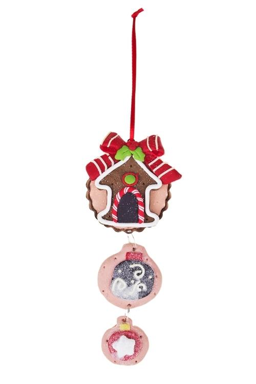Украшение декоративное Праздничный кексикЕлочные игрушки<br>Выс=11см, керам., подвесное (3 вида)<br>