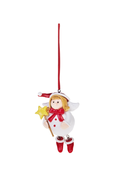 Украшение декоративное Девочка-ангелЕлочные игрушки<br>Выс=9см, керам., подвесное<br>