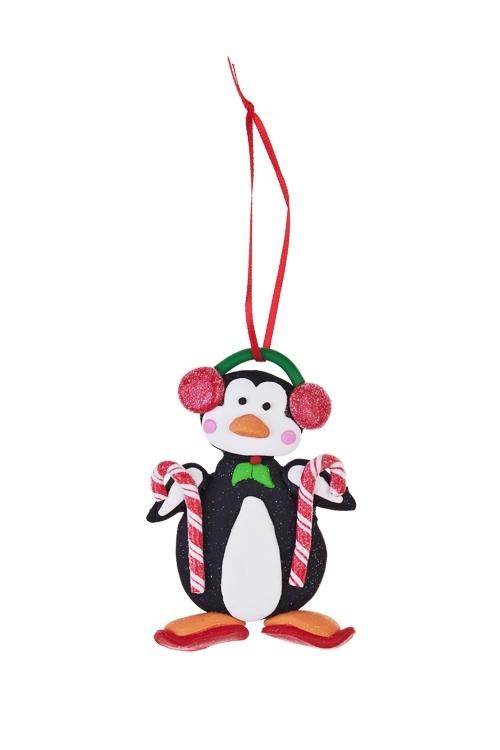 Украшение декоративное Пингвин на лыжахПодарки<br>Выс=12см, керам., подвесное<br>