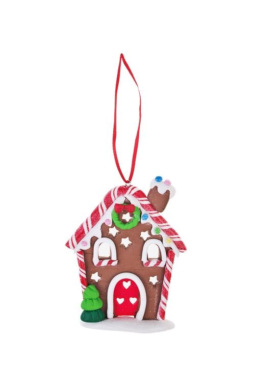 Украшение декоративное Сладкий домикЕлочные игрушки<br>8*11см, керам., подвесное (2 вида)<br>