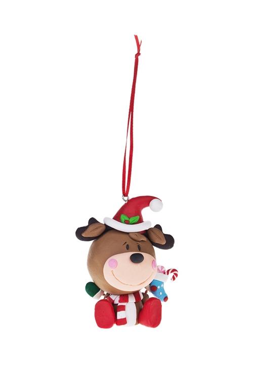 Украшение декоративное Счастливый лосикЕлочные игрушки<br>Выс=8см, керам., подвесное<br>