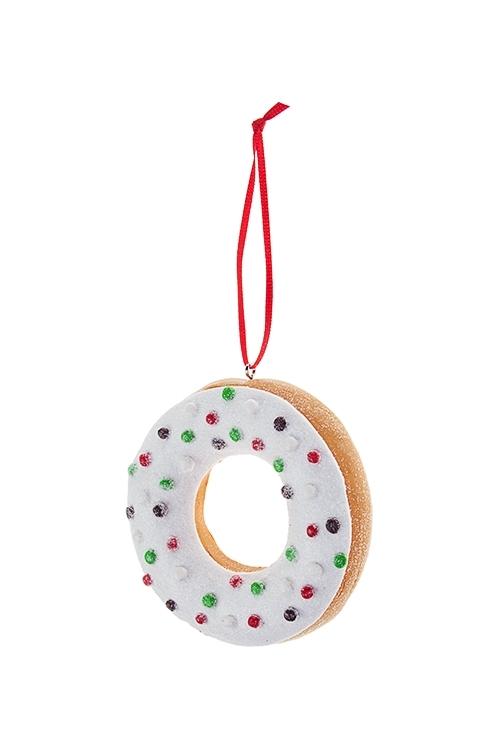 Украшение декоративное ПончикСувениры и упаковка<br>Выс=8см, пластм., бело-зелено-красное, подвесное<br>