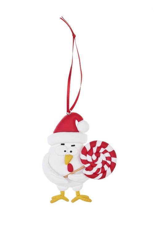 Украшение новогоднее Цыпа с конфетойПодарки<br>Выс=7см, керам., подвесное<br>
