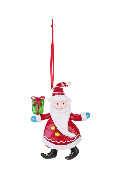 Украшение новогоднее Дед Мороз с подаркомЕлочные игрушки<br>Выс=12см, керам., подвесное (2 вида)<br>