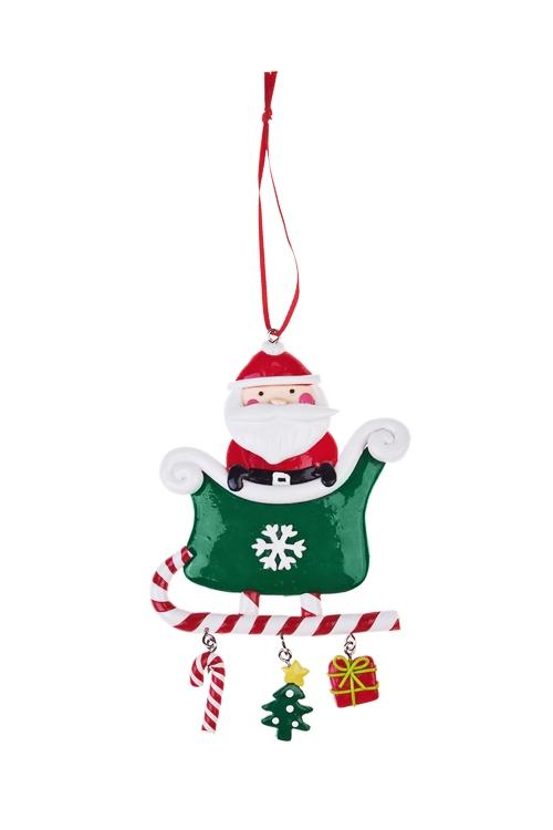 Украшение новогоднее Дед Мороз в саняхПодарки<br>Выс=13см, керам., подвесное<br>