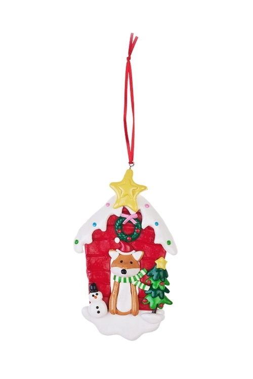 Украшение новогоднее Домик лисенкаПодарки<br>Выс=13см, керам., подвесное<br>
