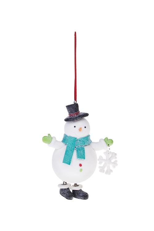 Украшение новогоднее Сладкий снеговикЕлочные игрушки<br>Выс=11см, керам., подвесное<br>