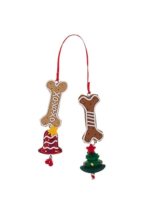 Украшение новогоднее Пряничные косточкиДекоративные гирлянды и подвески<br>Выс=10см, пластм., подвесное<br>